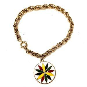 Vintage gold chain charm bracelet enamel charm